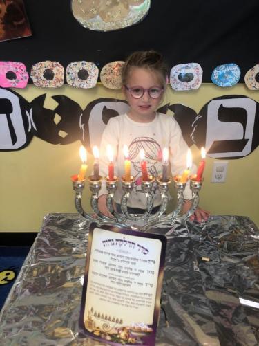 Lighting the Menorah!